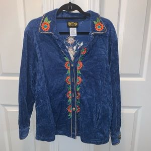 BOB MACKIE embroidered ribbed top   (K)